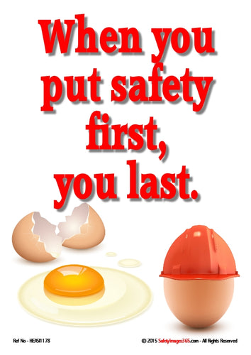 Image of two eggs - one broken and another intact wearing a hard hat.