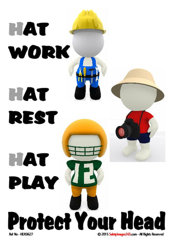 Bubblemen characters wearing hats depicting, work, rest and play.