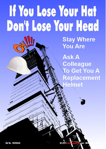 Image of a safety helmet falling from the top of a tall building.