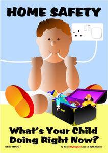 Graphic of young child with electrical flex, that is plugged into the mains, in his mouth.