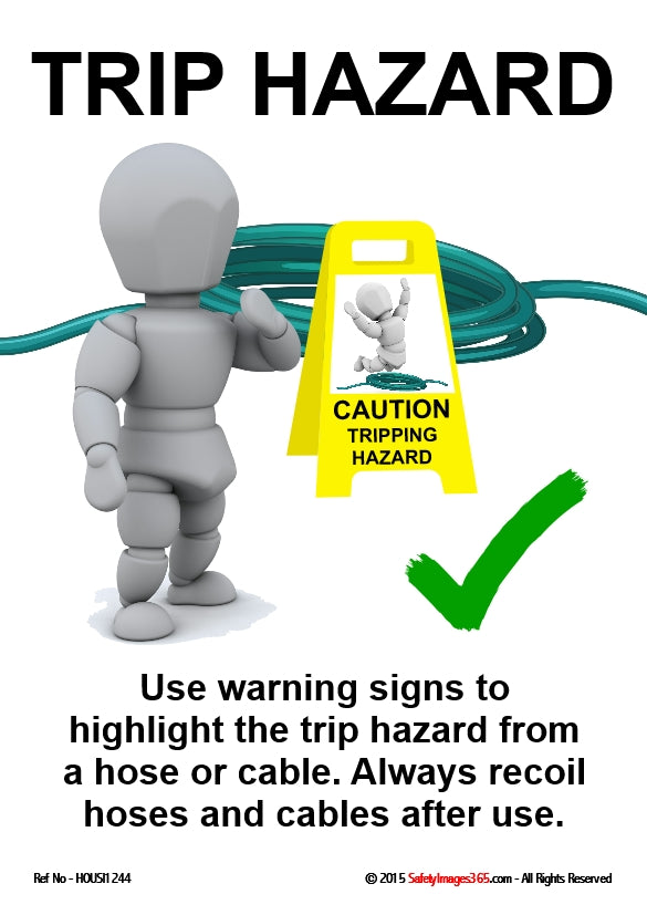 A bubbleman character places a warning signs in front of a roll of cable.
