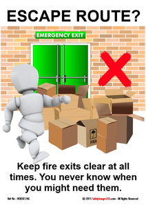 A picture of a bubbleman with boxes stacked in front of an emergency exit.