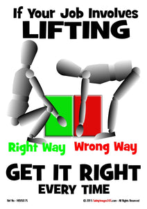 Image of two figures demonstrating the right and wrong way to lift a load.