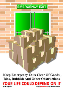Image of boxes piled up outside an emergency exit.