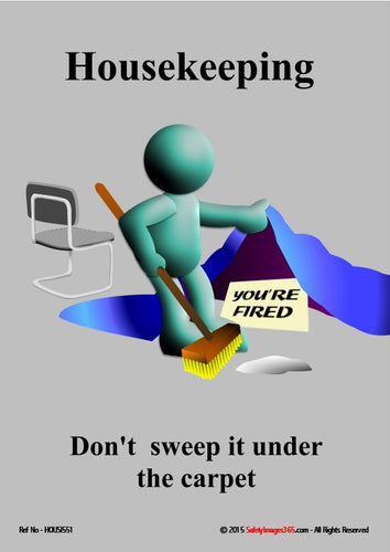 Image of a person with a broom in their hand sweeping up. They lift the carpet to find a note saying you're fired.