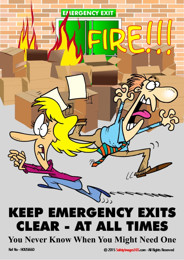 Cartoon image of two people running away from boxes burning in front of an emergency exit.