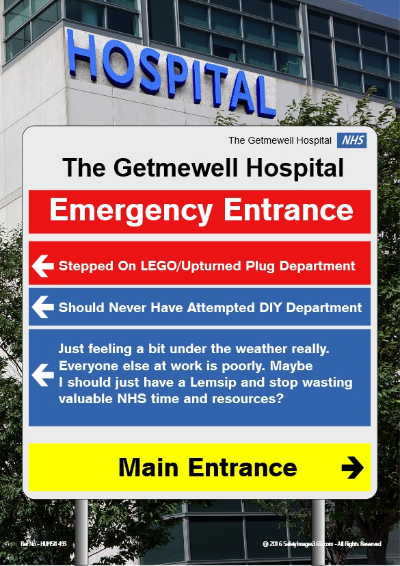 Picture of hospital entrance sign.