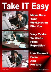 3 photographs showing female sat at workstation with advice on the safest way to work.