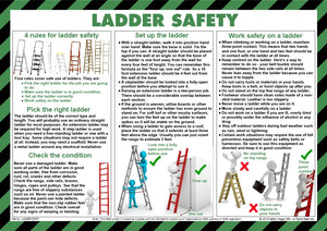Pictogram showing the right and wrongs of ladder handling.