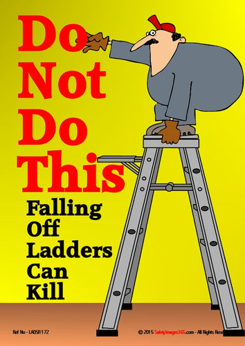 Cartoon showing a man balancing on the top of a pair of step ladders.