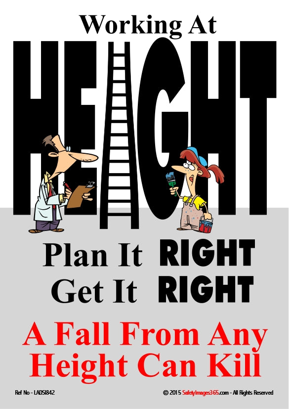 Picture showing two cartoon characters standing in front of the word height written in giant letters with a ladder representing the letter I.