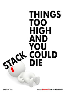 "Image of a bubbleman lying on the ground, blood oozing from his head after being hit by the word ""stack"" from the caption stack things too high and you could die.."