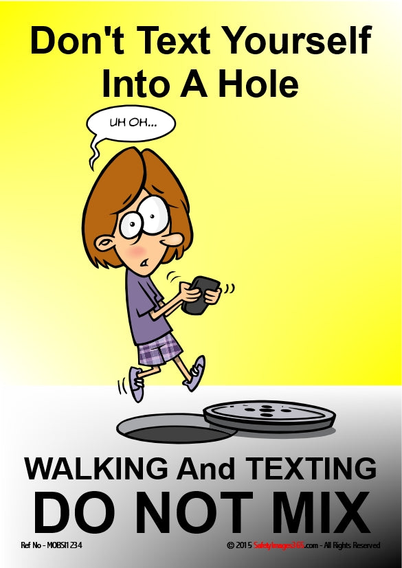 Picture of a cartoon character texting and about to step into a manhole.
