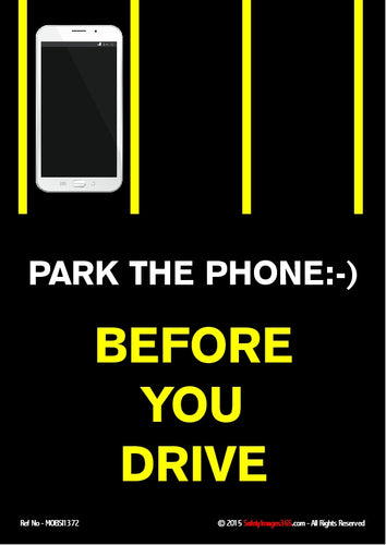 Image of a mobile phone in a parking space with the caption - park the phone before you drive.
