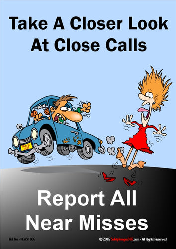 Cartoon image of a man driving a car that almost runs into a female pedestrian with the caption - report all near misses.
