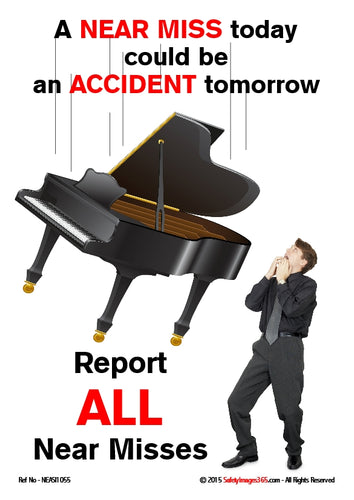 Picture of a man looking up at a grand piano falling through the air.