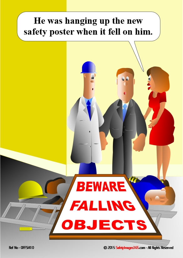 Mixed group of people standing over person who has been crushed by a fallen sign with the wording, beware falling objects.