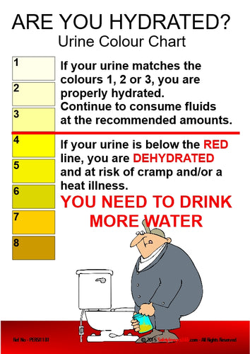 Picture of a urine colour chart and a man standing next to the toilet.