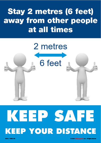 Personal Hygiene Safety Poster. Coronavirus  - Stay 2 metres.
