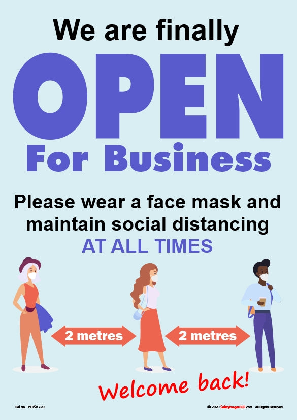 Personal Hygiene Safety Poster. Coronavirus - Open for business face mask 1.