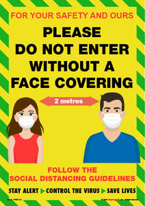 Personal Hygiene Safety Poster. Coronavirus - Please do not enter - face mask.