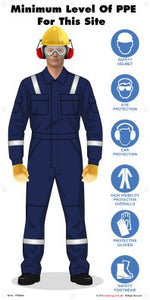 Man wearing six different items of PPE with the associated safety symbols alongside.