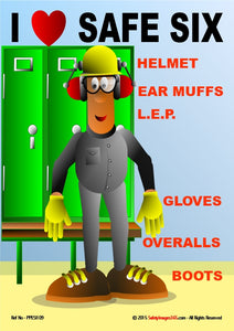 Image of man wearing six types of PPE.
