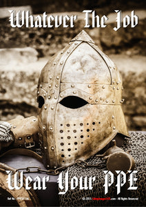 Metal medieval helmet and body armour.