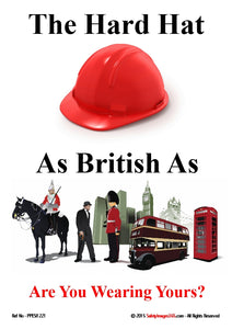 Red safety helmet with images of traditional british icons.