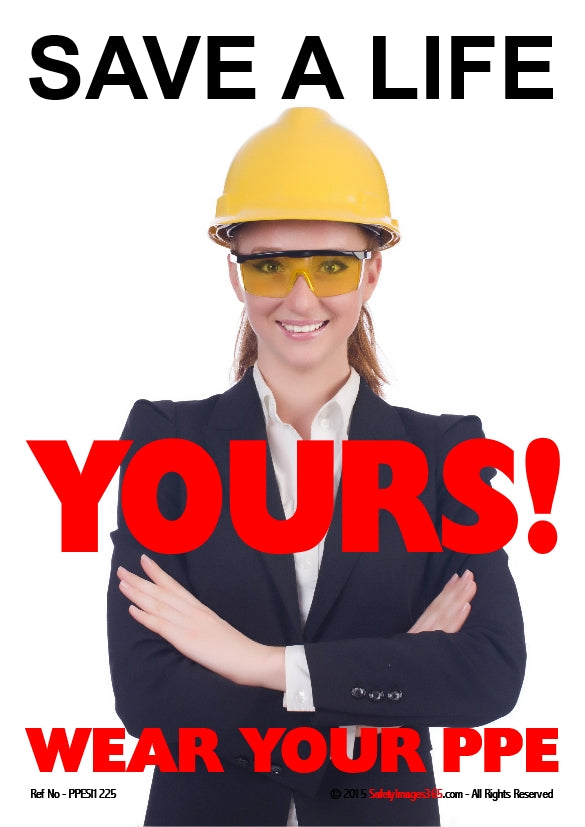 Female wearing yellow hard hat and safety goggles.
