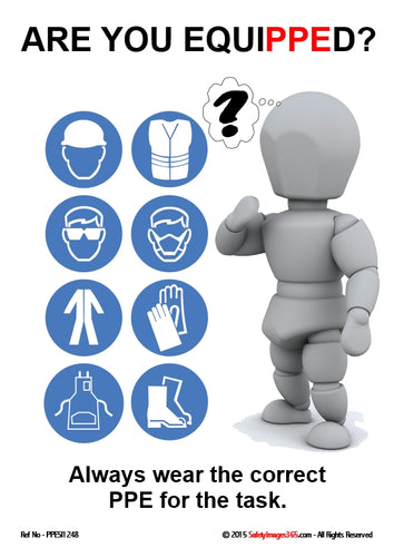 Picture of a bubbleman character and images of safety equipment and the caption - always wear the correct PPE for the task.