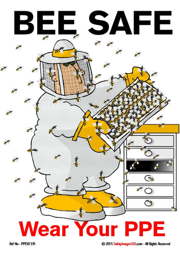 Cartoon image of a man wearing a beekeeping suit with a full veil and hood attending to a beehive.