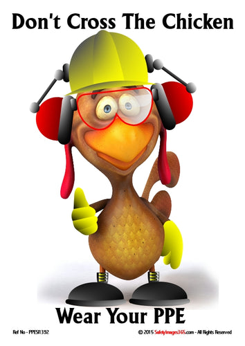 Cartoon image of a chicken wearing safety equipment - hard hat, goggles, ear defenders and gloves.