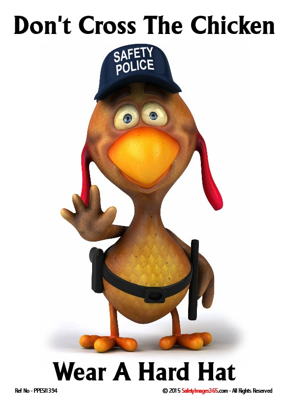 Cartoon image of a chicken dressed as a police officer with a cap saying safety police.