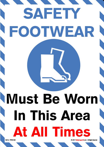 Silhouette image of a pair of boots within a blue border and the caption - safety footwear must be worn in this area at all times.
