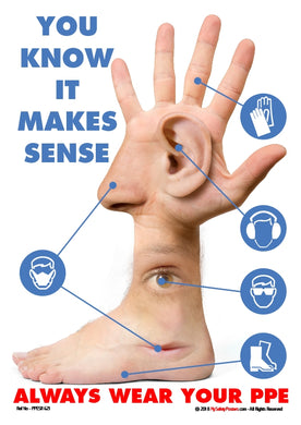 Composite image of a human hand, eye, ear, nose and foot and symbols of face masks, ear and eye protection, safety footwear and gloves.