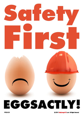 2 eggs together. one happy egg wearing a safety helmet and a sad egg without any head protection.