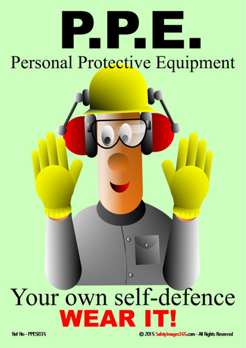cartoon image of a man wearing safety gloves, a hard hat and ear protection.