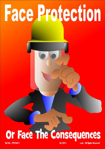 Cartoon image of a man wearing a safety helmet and visor.