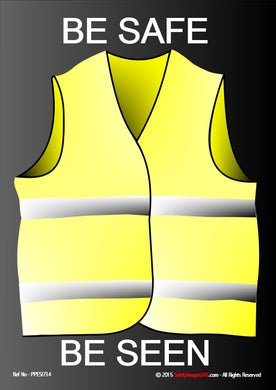 Yellow Hi Vis vest with white bands against black background.