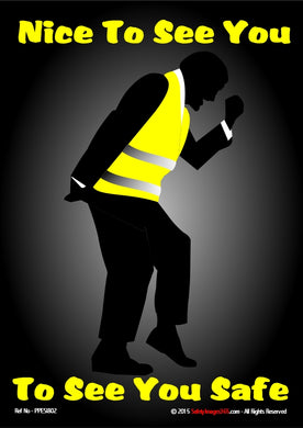 Silhouette of Bruce Forsythe in his famous pose wearing hi vis vest.