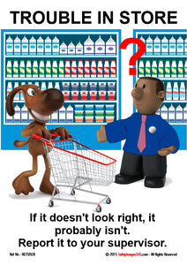 Picture of a cartoon dog pushing a supermarket trolley watched by a shop assistant.