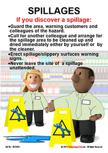 Cartoon images of shop assistants with wet floor warning signs and a checklist for dealing with spillages.