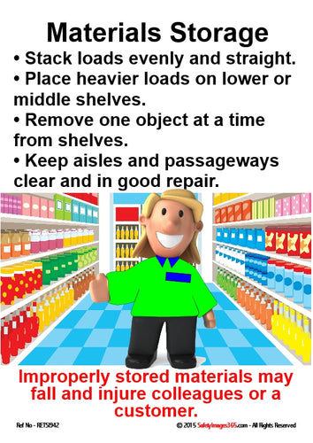 Image or a person in a supermarket aisle and guidelines for safe materials storage.