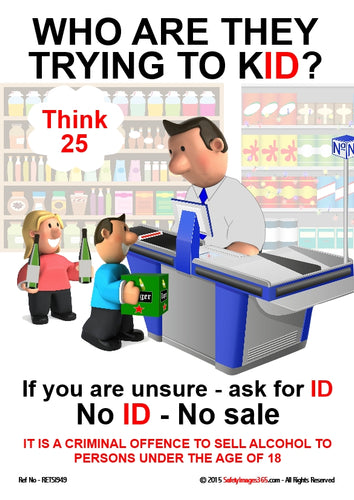 Picture of a supermarket checkout operator checking the ID of two children.