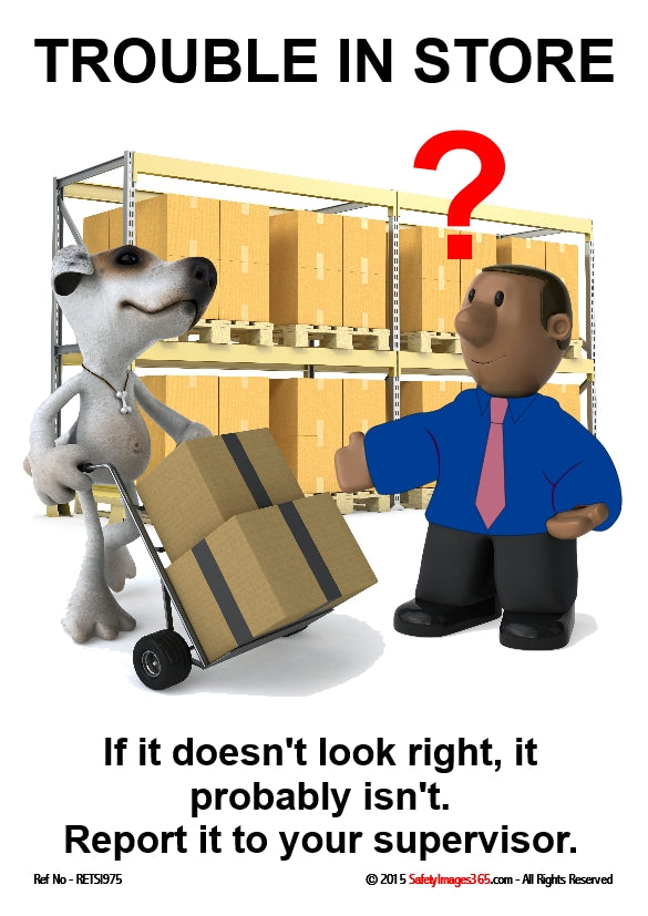 Picture of a man with a question mark over his head watching a large dog pushing a trolley loaded with boxes.