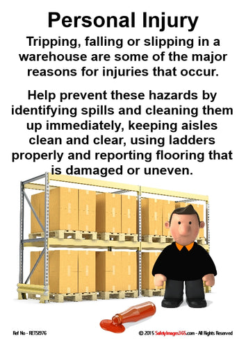 Picture of a man in a storage facility with safety guidance for avoiding personal injury.