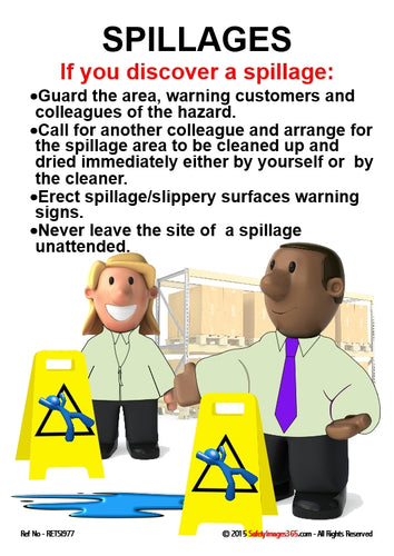Picture of two men putting out spillage warning signs with safety guidance for dealing with spillages.