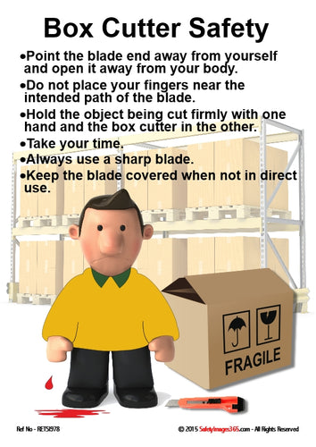 Image of a man with blood dripping from his hand, a box cutter and cardboard box and guidance for the safe use of box cutters.