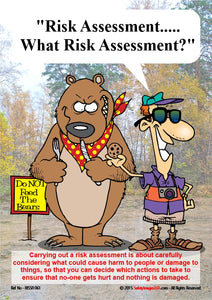 Cartoon showing a man feeding a bear unaware of the risks.